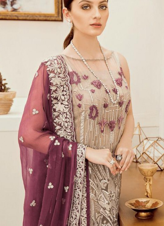 Beige Georgette Embroidered Ceremony Wear Pakistani Suits Rosemeen Riona By Fepic SC/016317