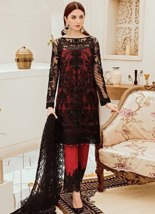 Red Net Embroidered Ceremony Wear Pakistani Suits Rosemeen Riona By Fepic SC/016317
