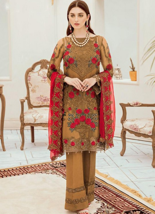Gold Georgette Embroidered Ceremony Wear Pakistani Suits Rosemeen Riona By Fepic SC/016317