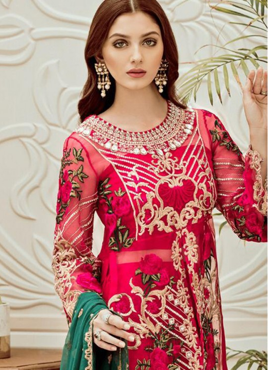 Pink Net Embroidered Ceremony Wear Pakistani Suits Rosemeen Riona By Fepic SC/016317