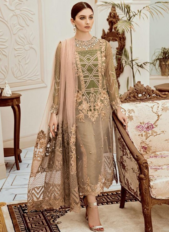 Beige Net Embroidered Ceremony Wear Pakistani Suits Rosemeen Riona By Fepic SC/016317