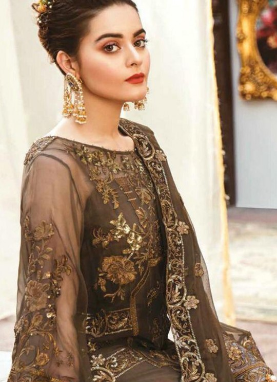 Brown Georgette,Net Party Wear Pakistani Suits Rosemeen Carnival 41001 Set By Fepic SC/015203