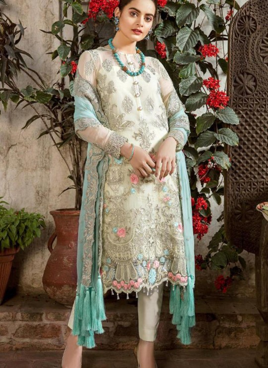 Cream Georgette Net Party Wear Pakistani Suits Rosemeen Carnival 41002 By Fepic SC/015205