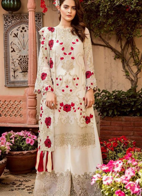 Cream Georgette Net Party Wear Pakistani Suits Rosemeen Carnival 41004 Set By Fepic SC/015203