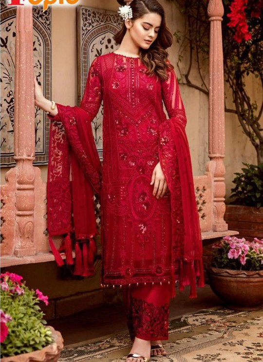 Red Georgette Net Party Wear Pakistani Suits Rosemeen Carnival 41005 By Fepic SC/015609