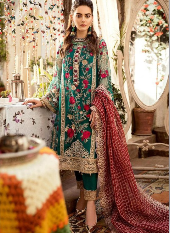 Green Georgette Net Party Wear Pakistani Suits Rosemeen Carnival 41006 Set By Fepic SC/015203