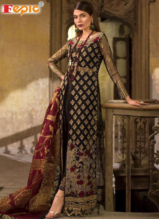 Black Net Party Wear Pakistani Suits Rosemeen ZC 32001 Set By Fepic SC/013780