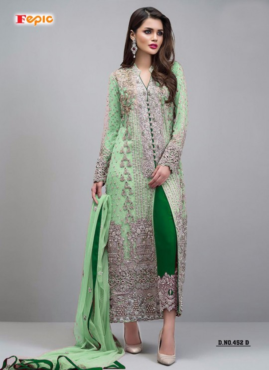 Green Faux Georgette Party Wear Pakistani Suits Sanober Vol 2 452 Green By Fepic SC/012279