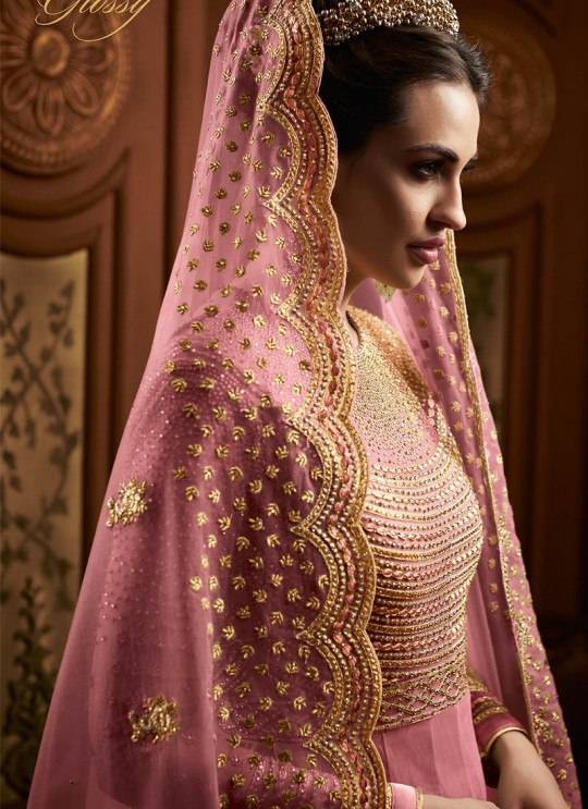 Alluring Net Abaya Style Anarkali Suit For Bridesmaids In Pink Color Majesty 15007 A Color By Glossy SC/015496