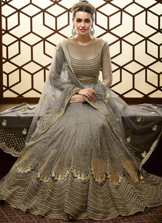 Attractive Net Abaya Style Anarkali Suit For Bridesmaids In Grey Color Majesty 15007 B Color By Glossy SC/015497