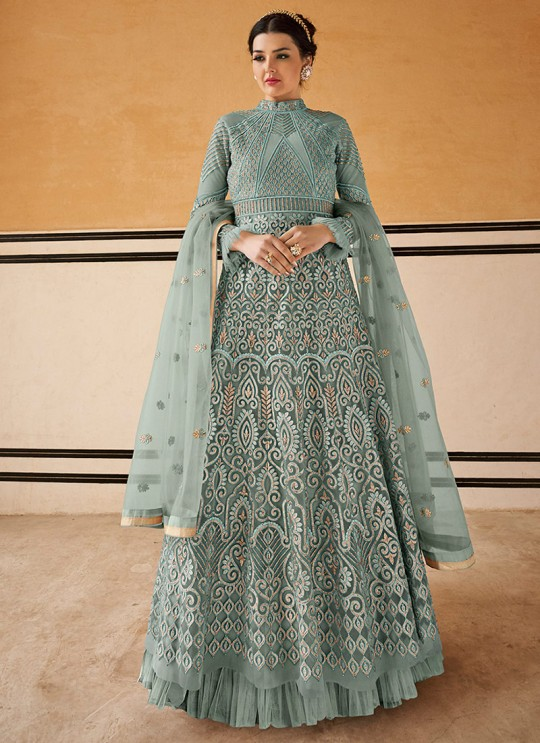Crown By Glossy 15201 Grey Wedding Gown Style Anarkali SC-015758