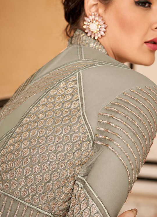 Crown By Glossy 15203 Grey Wedding Gown Style Anarkali SC-015760