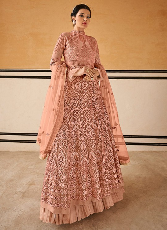 Crown By Glossy 15204 Peach Wedding Gown Style Anarkali SC-015761