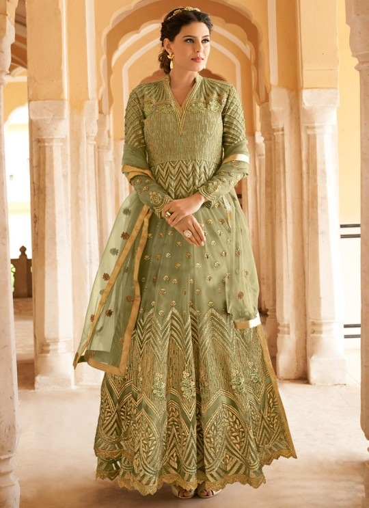 Green Net Abaya Style Anarkali For Engagement Ceremony Highness 15102A Color By Glossy SC/015098