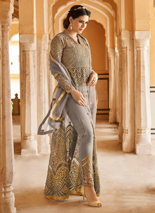 Grey Net Abaya Style Anarkali For EID Festival 2020 Highness 15102C Color By Glossy SC/015100