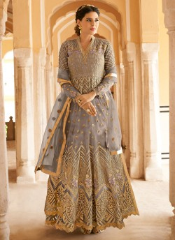 c31bb2977a Grey Net Abaya Style Anarkali For EID Festival 2020 Highness 15102C Color  By Glossy SC/