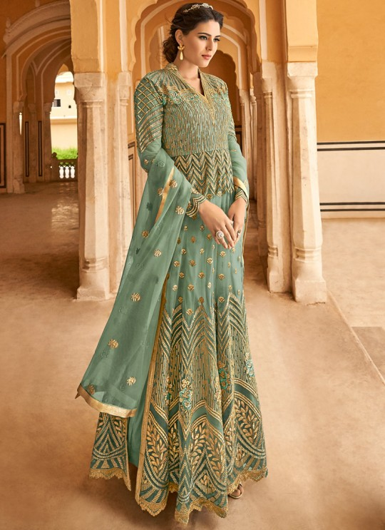 Sea Green Net Abaya Style Anarkali For Indian Weddings Highness 15102D Color By Glossy SC/015101