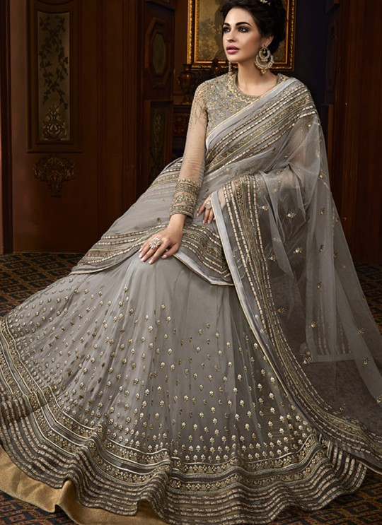 Grey Georgette Abaya Style Anarkali For Mehandi Ceremony Majesty 15004 By Glossy SC/015010