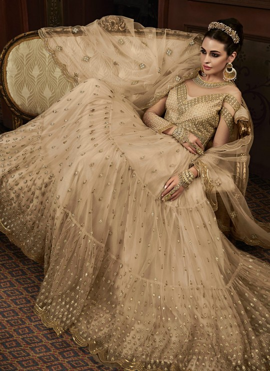 Beige Georgette Abaya Style Anarkali For Engagement Ceremony Majesty 15005 By Glossy SC/015011