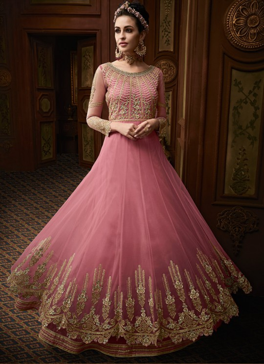 Pink Georgette Abaya Style Anarkali For Bridesmaids Majesty 15006 By Glossy SC/015012