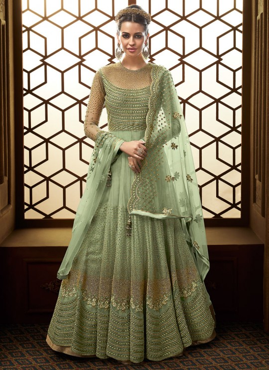 Green Net Abaya Style Anarkali For EID Festival 2019 Majesty 15007 By Glossy SC/015013