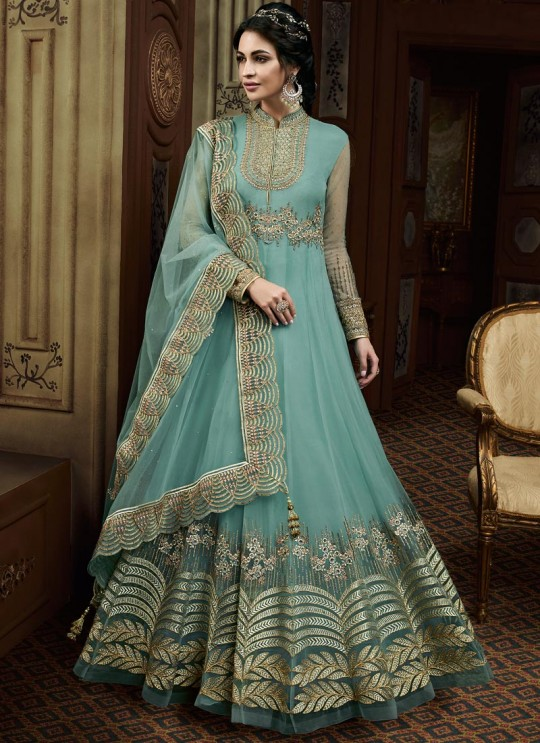 Blue Net Abaya Style Anarkali For Wedding Ceremony Majesty 15010 By Glossy SC/015016