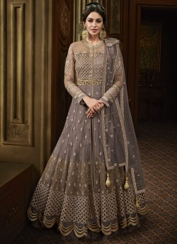 b26d36473a Grey Net Abaya Style Anarkali For Mehandi Ceremony Majesty 15011 By Glossy  SC/015017