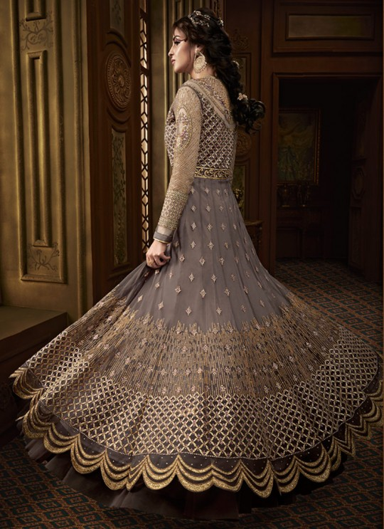 Grey Net Abaya Style Anarkali For Mehandi Ceremony Majesty 15011 By Glossy SC/015017