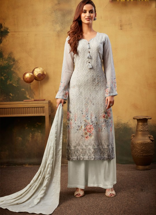 Samisha 2 By Hotlady 6224 White GeorgettePartywear Striaght Cut Suit