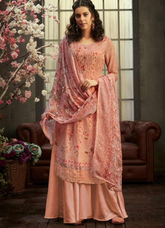 Samisha By Hotlady 6151 Peach Bemberg GeorgetteParty Wear Plazzo Suit