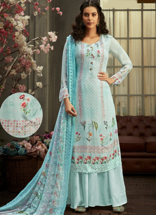 Samisha By Hotlady 6153 Blue Bemberg GeorgetteParty Wear Plazzo Suit