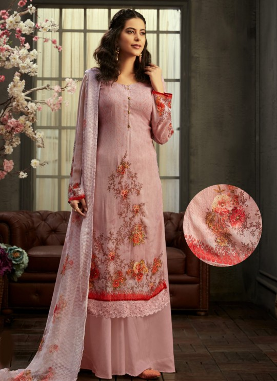 Samisha By Hotlady 6155 Mauve Bemberg GeorgetteParty Wear Plazzo Suit