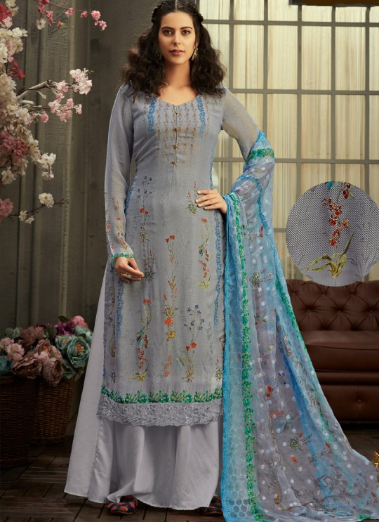 Samisha By Hotlady 6157 Grey Bemberg GeorgetteParty Wear Plazzo Suit