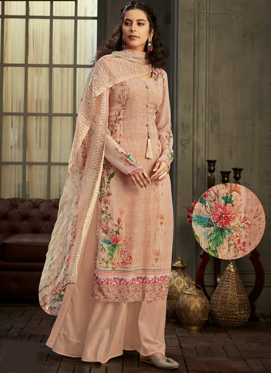 Samisha By Hotlady 6158 Pastel Peach Bemberg GeorgetteParty Wear Plazzo Suit