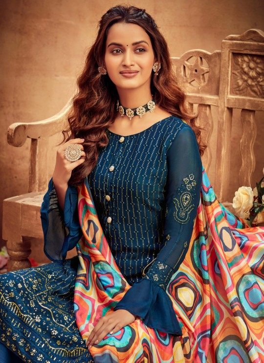 Suraiya By Hotlady 6171 Teal Blue Chinnon  ChiffonParty Wear Plazzo Suit