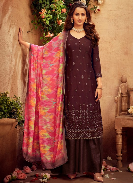 Suraiya By Hotlady 6175 Brown Chinnon  ChiffonParty Wear Plazzo Suit