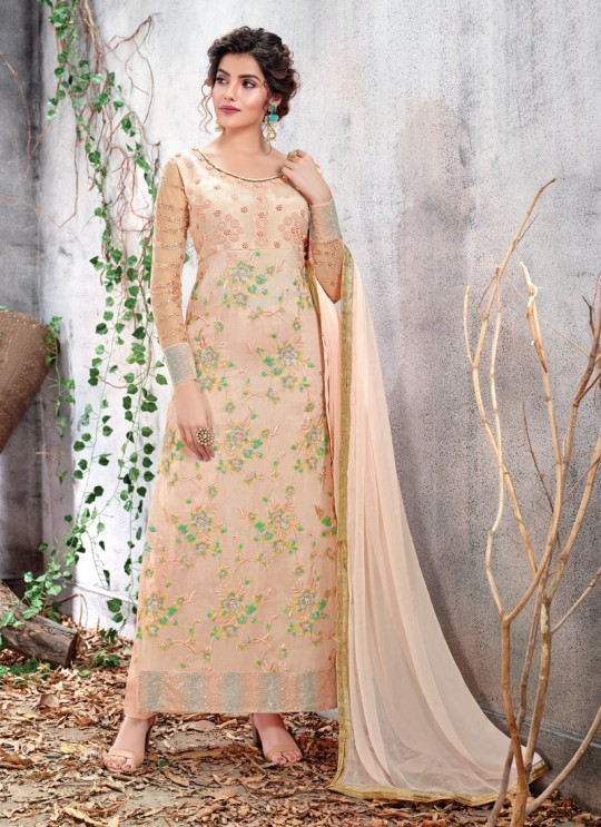 Light Pink Ceremony Chiffon Straight Cut Suit Arshiya 5151 By HOTLADY SC/016075
