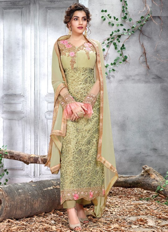 Pista Green Ceremony Net Straight Cut Suit Arshiya 5152 By HOTLADY SC/016076