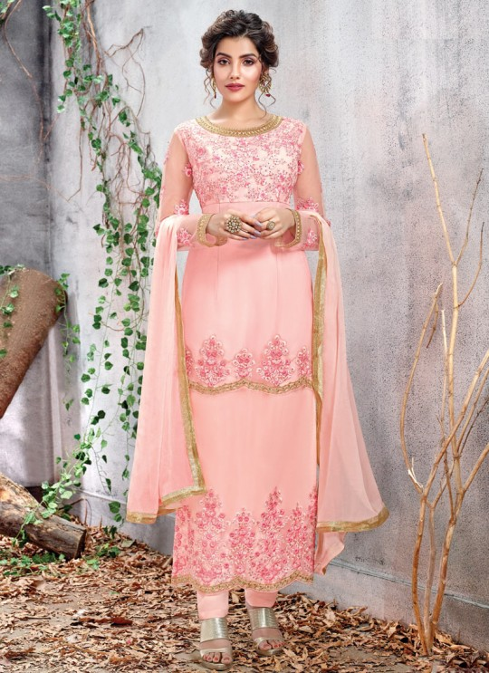 Baby Pink Ceremony Net Straight Cut Suit Arshiya 5153 By HOTLADY SC/016077