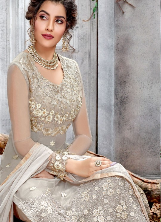 Light Grey Ceremony Net Straight Cut Suit Arshiya 5155 By HOTLADY SC/016079