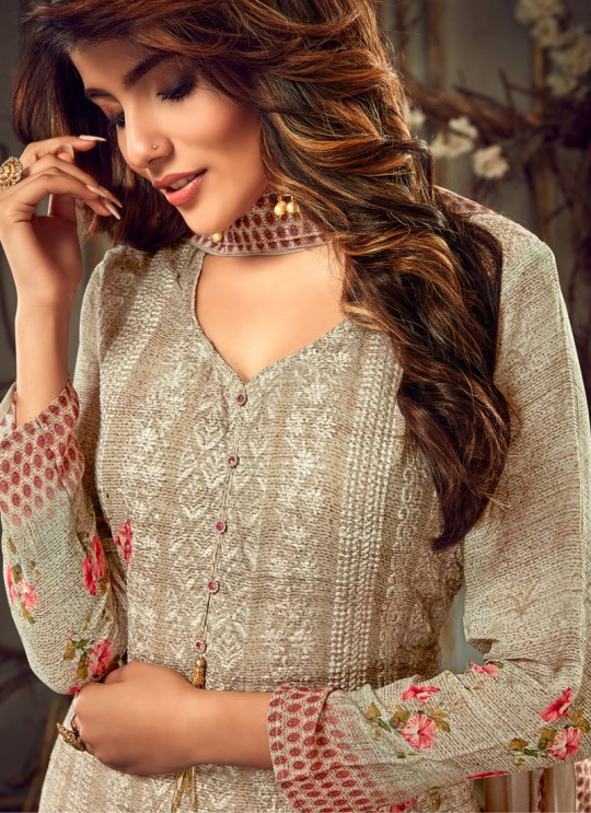 Fulkari Vol 2 By Hotlady 7181 Georgette Wedding Palazzo Suit In Brown