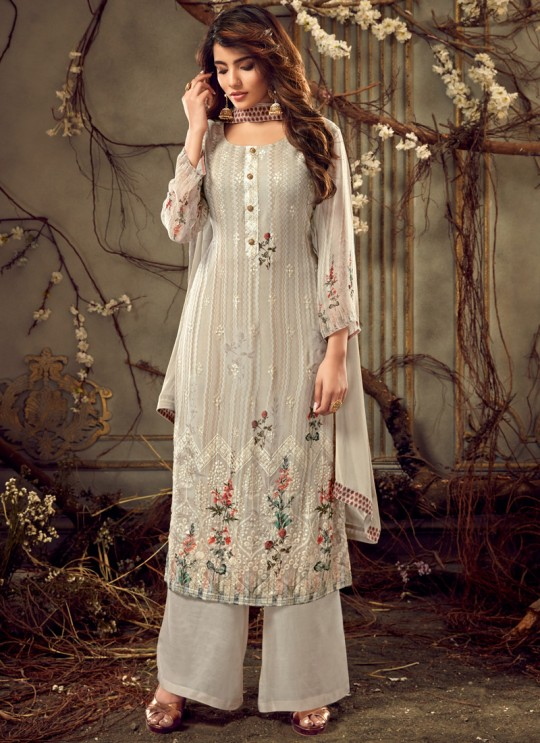 Fulkari Vol 6 By Hotlady 7181 Georgette Wedding Palazzo Suit In Off White