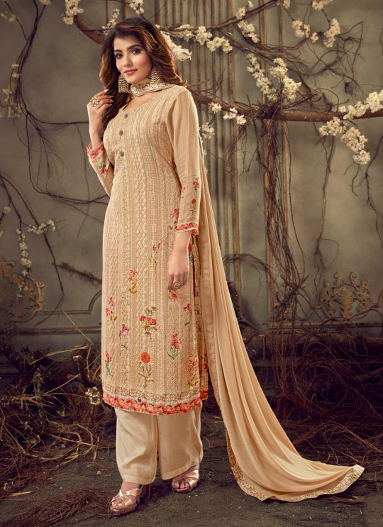 Fulkari Vol 7 By Hotlady 7181 Georgette Wedding Palazzo Suit In Peach