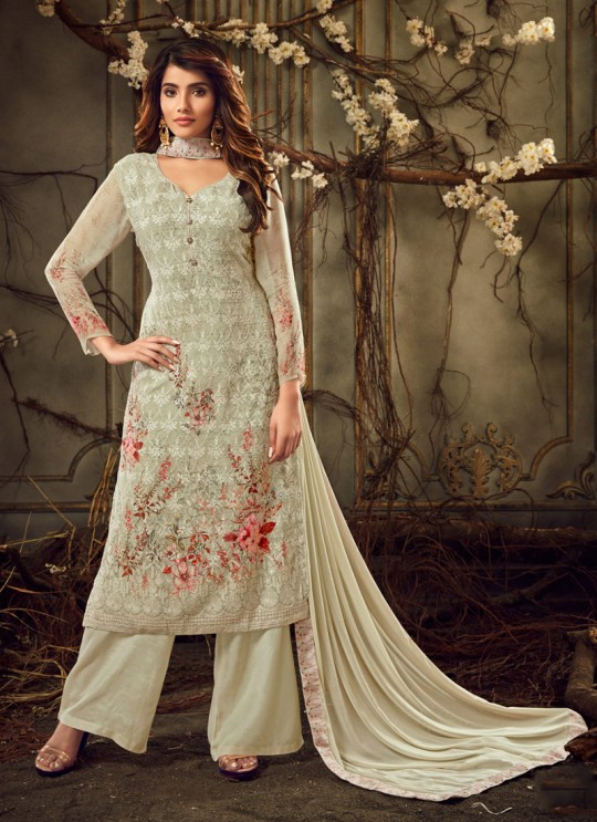 Fulkari Vol 8 By Hotlady 7181 Georgette Wedding Palazzo Suit In Light Green