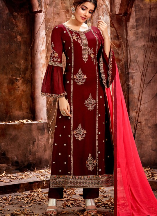 Maroon Party Wear Georgette Straight Cut Suit Mishti 5121 By Hotlady SC/015916