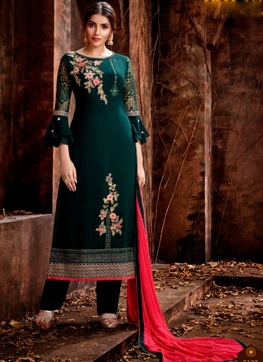 Green Party Wear Georgette Straight Cut Suit Mishti 5122 By Hotlady SC/015917