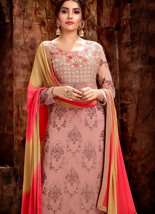 Peach Party Wear Georgette Straight Cut Suit Mishti 5123 By Hotlady SC/015918