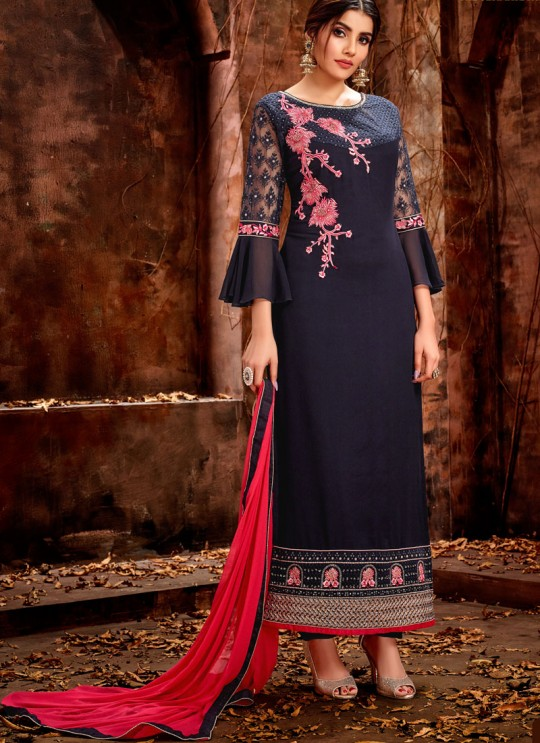 Navy Blue Party Wear Georgette Straight Cut Suit Mishti 5124 By Hotlady SC/015919