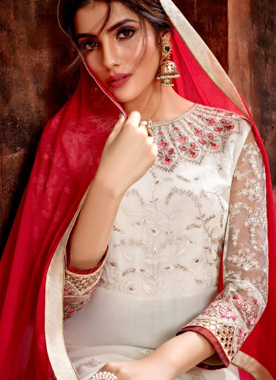 Off White Party Wear Georgette Straight Cut Suit Mishti 5125 By Hotlady SC/015920