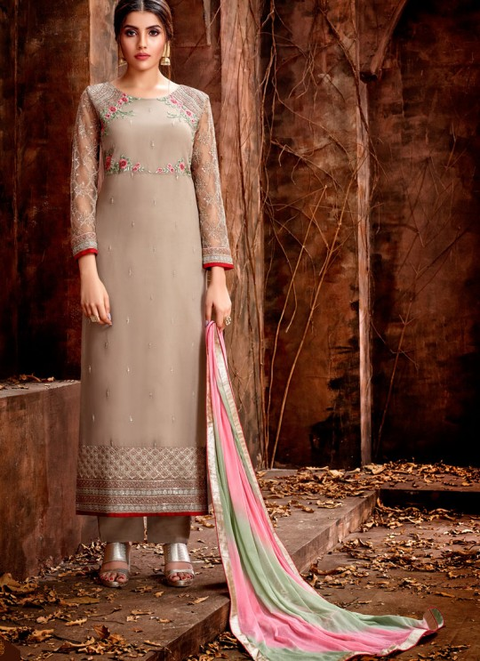 Beige Party Wear Georgette Straight Cut Suit Mishti 5126 By Hotlady SC/015921